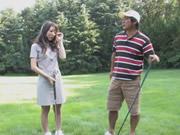 AV女優ゴルフゲームの後兼口の中で